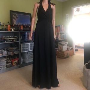 BCBG MaxaZria Black Long Dress Halter Neck-Size 8